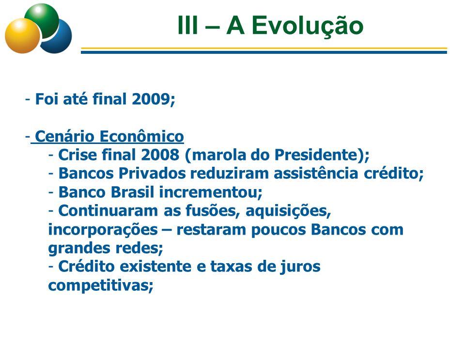 III – A Evolução - Foi até final 2009; - Cenário Econômico - Crise final 2008 (marola do Presidente); - Bancos Privados reduziram assistência crédito;
