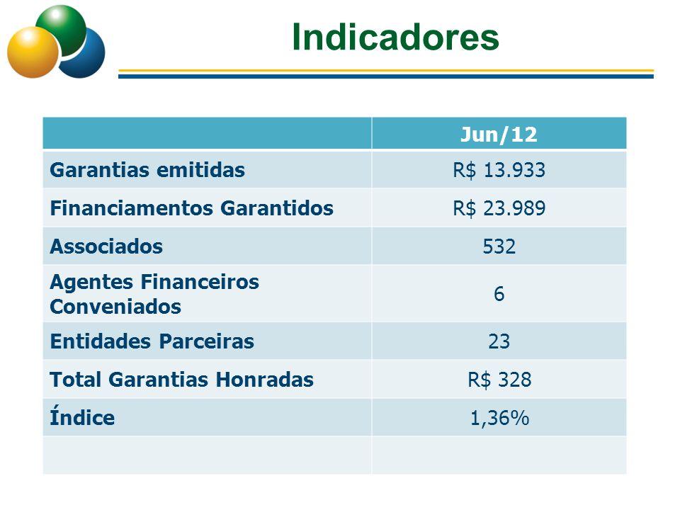 Indicadores Jun/12 Garantias emitidasR$ 13.933 Financiamentos GarantidosR$ 23.989 Associados532 Agentes Financeiros Conveniados 6 Entidades Parceiras2