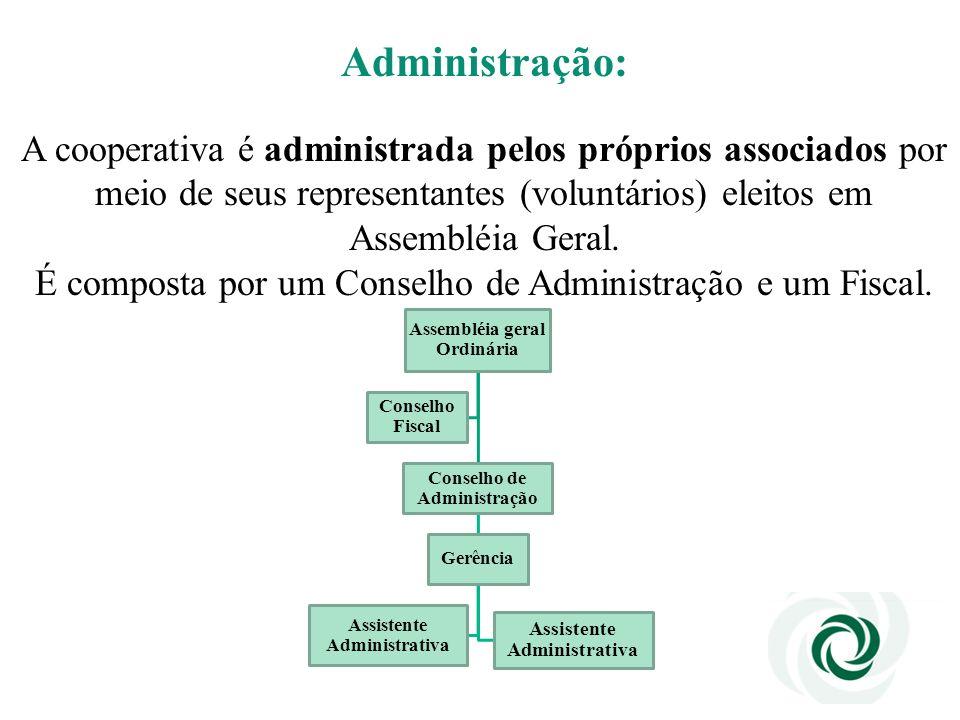 Administração: A cooperativa é administrada pelos próprios associados por meio de seus representantes (voluntários) eleitos em Assembléia Geral.