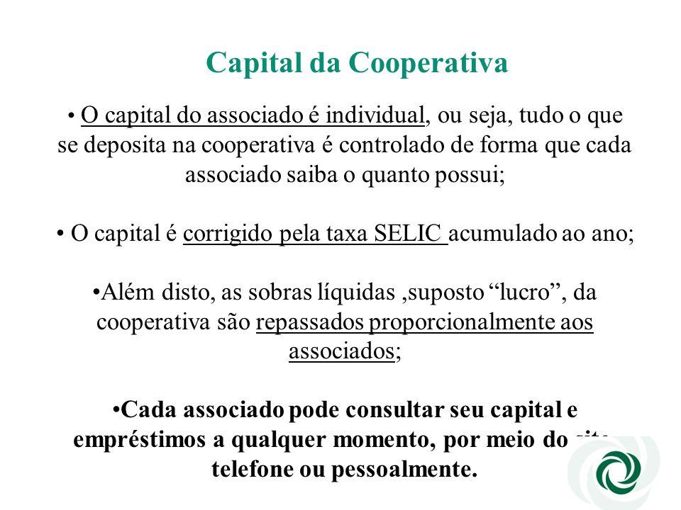 Capital da Cooperativa O capital do associado é individual, ou seja, tudo o que se deposita na cooperativa é controlado de forma que cada associado sa