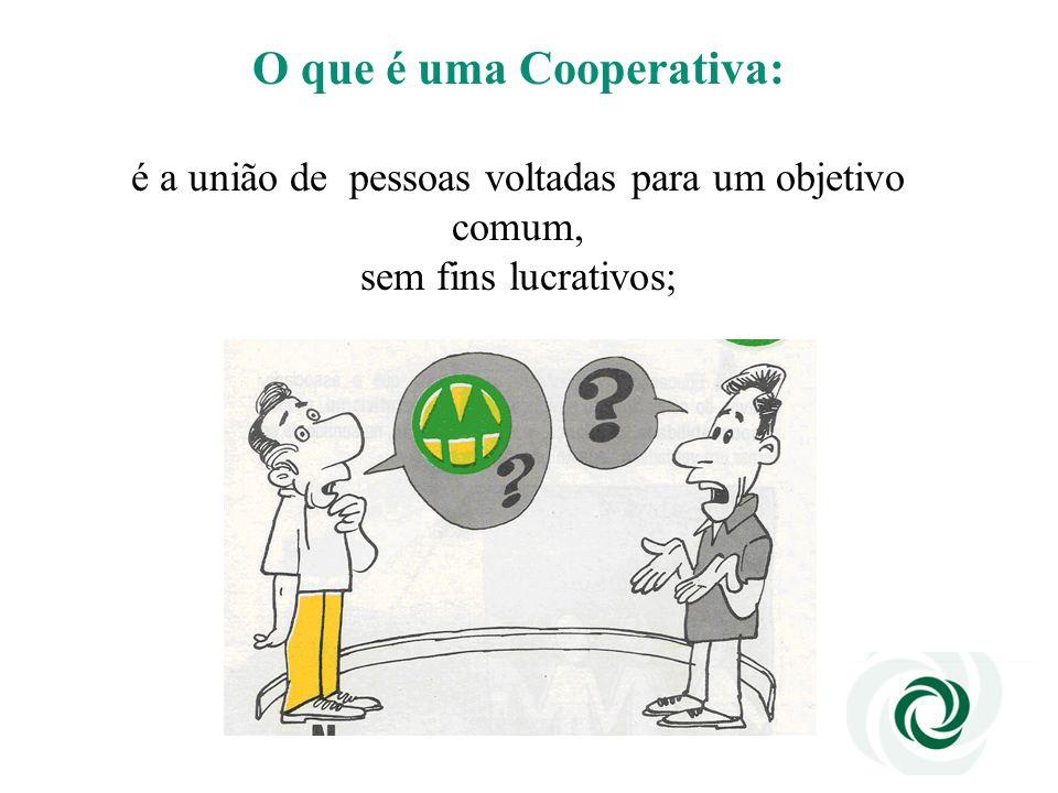 O que é uma Cooperativa: é a união de pessoas voltadas para um objetivo comum, sem fins lucrativos;