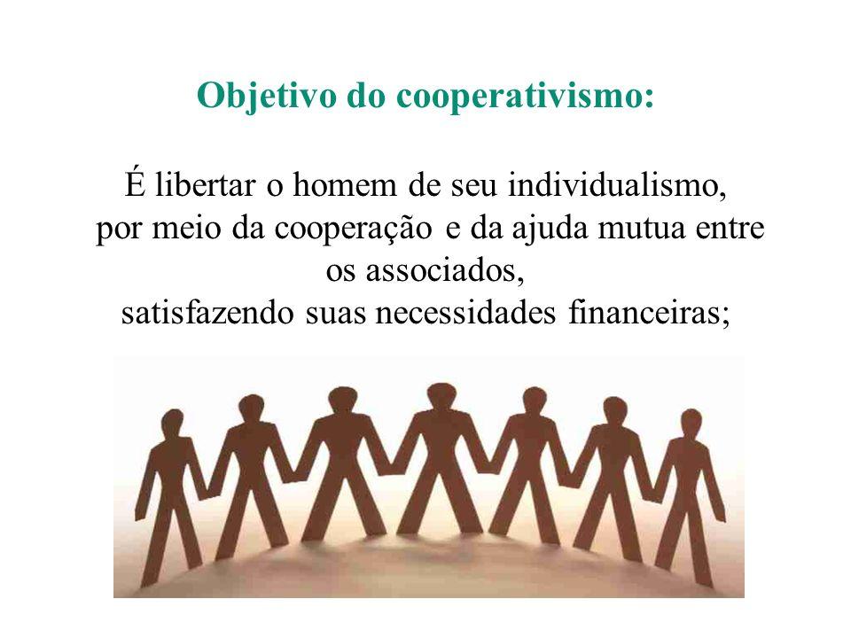 Objetivo do cooperativismo: É libertar o homem de seu individualismo, por meio da cooperação e da ajuda mutua entre os associados, satisfazendo suas necessidades financeiras;
