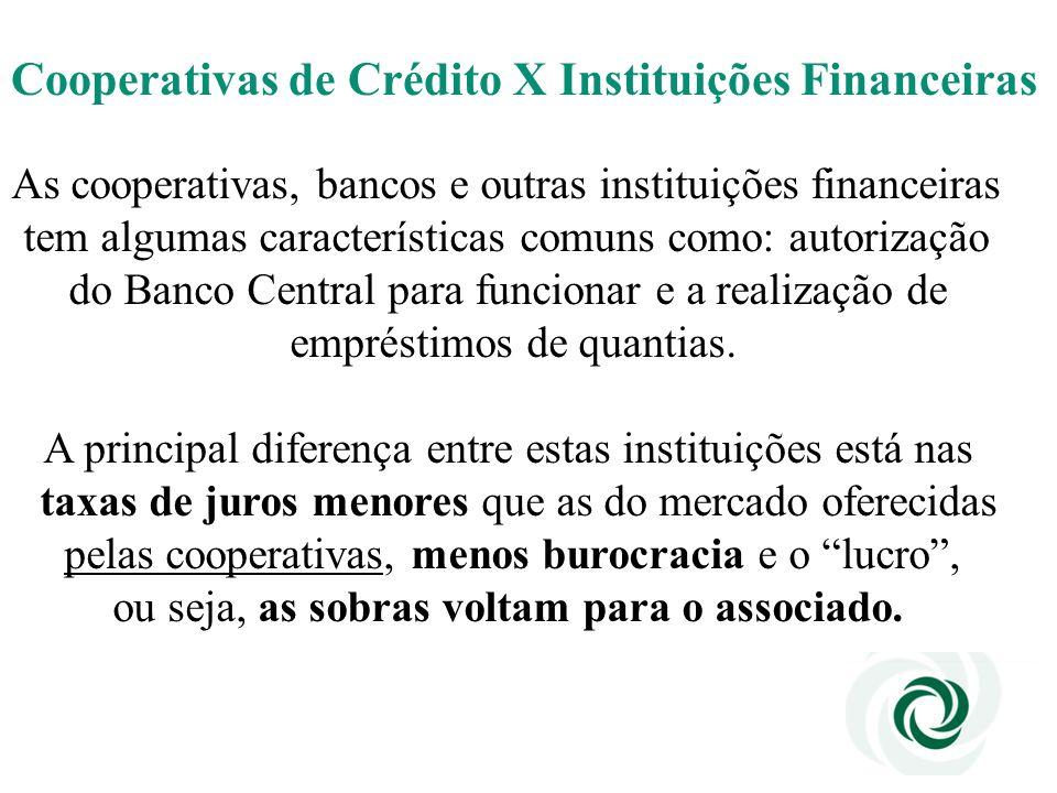 Cooperativas de Crédito X Instituições Financeiras As cooperativas, bancos e outras instituições financeiras tem algumas características comuns como: autorização do Banco Central para funcionar e a realização de empréstimos de quantias.