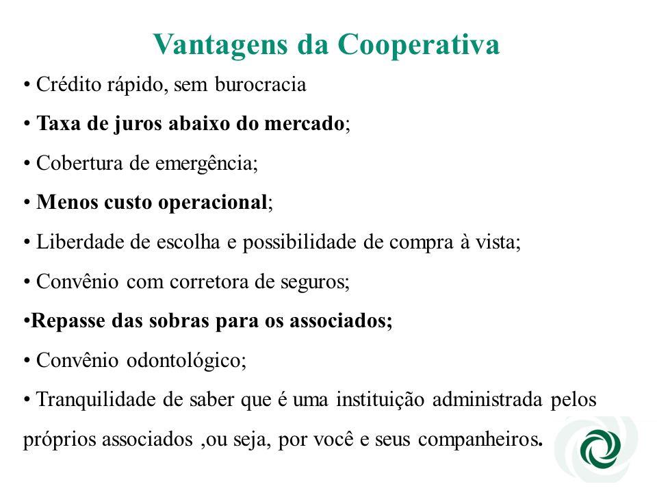 Vantagens da Cooperativa Crédito rápido, sem burocracia Taxa de juros abaixo do mercado; Cobertura de emergência; Menos custo operacional; Liberdade d