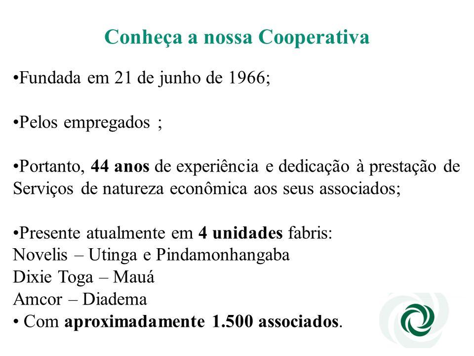 Conheça a nossa Cooperativa Fundada em 21 de junho de 1966; Pelos empregados ; Portanto, 44 anos de experiência e dedicação à prestação de Serviços de