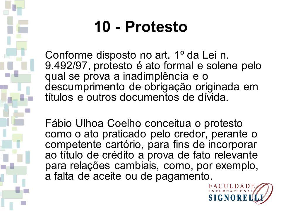 10 - Protesto Conforme disposto no art. 1º da Lei n. 9.492/97, protesto é ato formal e solene pelo qual se prova a inadimplência e o descumprimento de