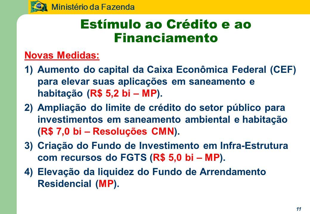 Ministério da Fazenda 11 Estímulo ao Crédito e ao Financiamento Novas Medidas: 1)Aumento do capital da Caixa Econômica Federal (CEF) para elevar suas aplicações em saneamento e habitação (R$ 5,2 bi – MP).