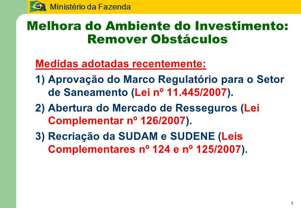 Ministério da Fazenda 16 Melhora do Ambiente do Investimento: Remover Obstáculos Medidas adotadas recentemente: 1)Aprovação do Marco Regulatório para o Setor de Saneamento (Lei nº 11.445/2007).