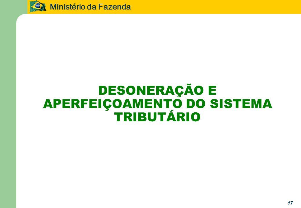 Ministério da Fazenda 17 DESONERAÇÃO E APERFEIÇOAMENTO DO SISTEMA TRIBUTÁRIO