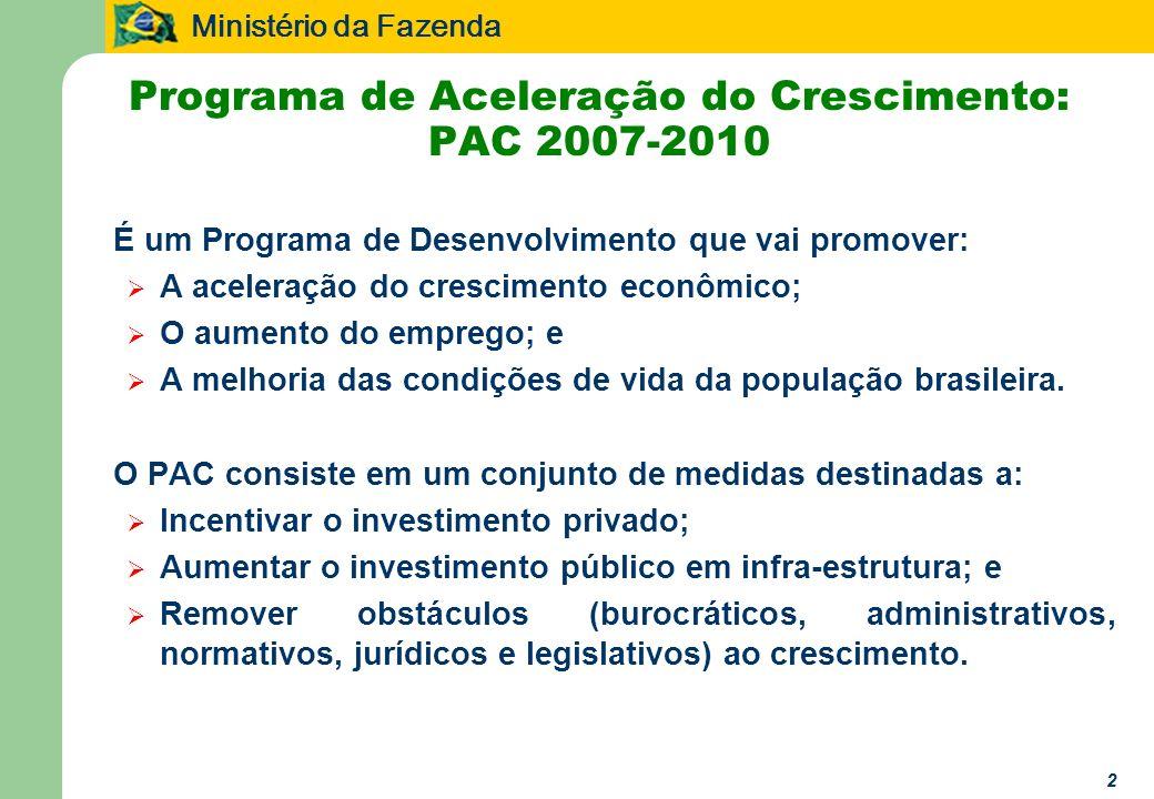 Ministério da Fazenda 2 Programa de Aceleração do Crescimento: PAC 2007-2010 É um Programa de Desenvolvimento que vai promover: A aceleração do crescimento econômico; O aumento do emprego; e A melhoria das condições de vida da população brasileira.