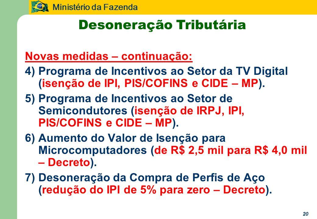 Ministério da Fazenda 20 Desoneração Tributária Novas medidas – continuação: 4)Programa de Incentivos ao Setor da TV Digital (isenção de IPI, PIS/COFINS e CIDE – MP).