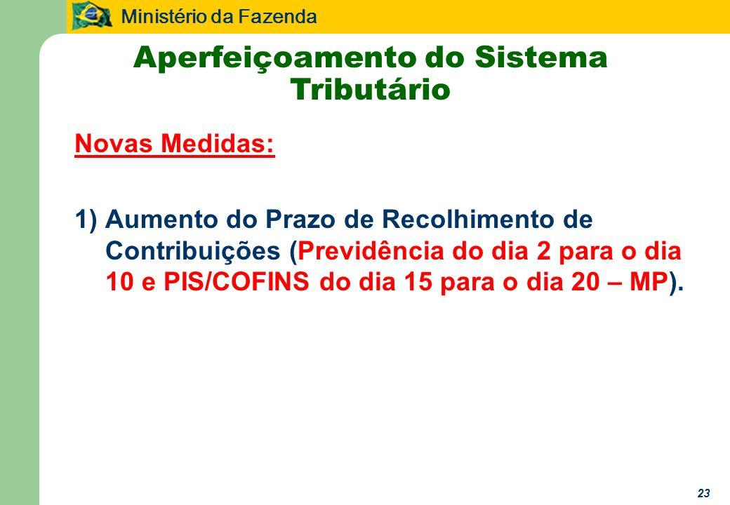 Ministério da Fazenda 23 Novas Medidas: 1)Aumento do Prazo de Recolhimento de Contribuições (Previdência do dia 2 para o dia 10 e PIS/COFINS do dia 15 para o dia 20 – MP).