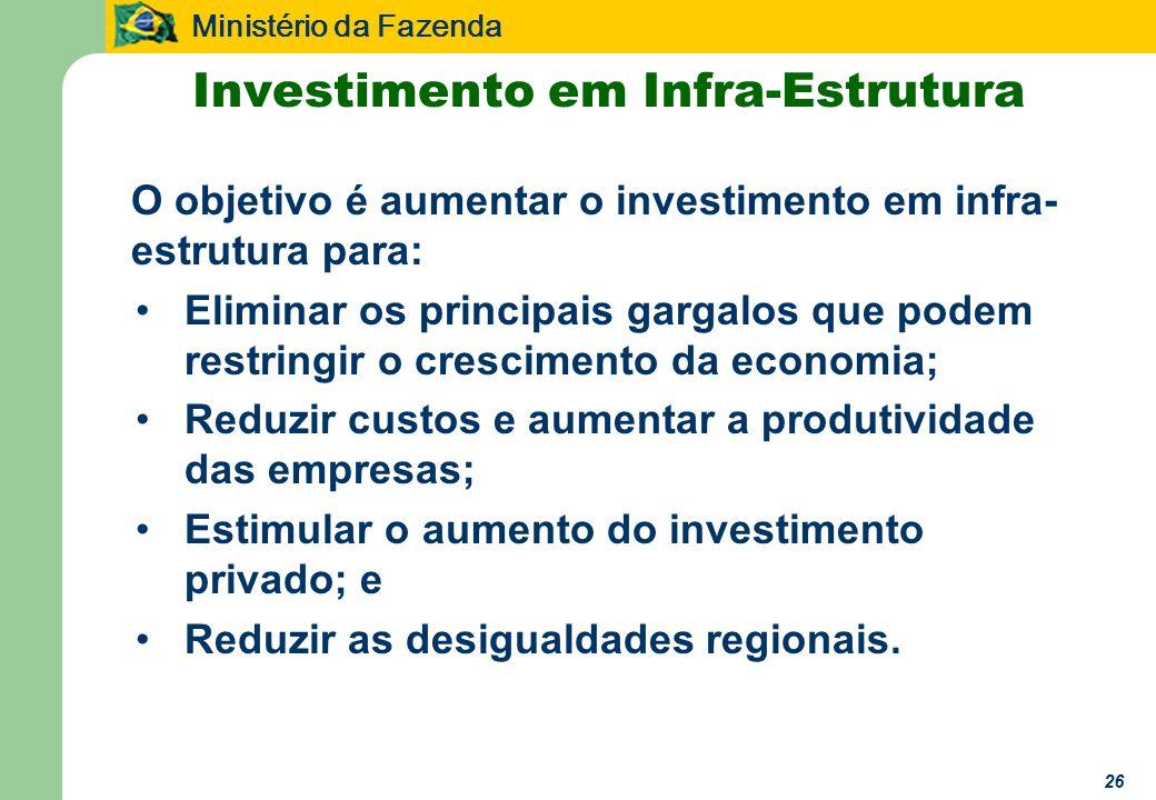 Ministério da Fazenda 26 O objetivo é aumentar o investimento em infra- estrutura para: Eliminar os principais gargalos que podem restringir o crescimento da economia; Reduzir custos e aumentar a produtividade das empresas; Estimular o aumento do investimento privado; e Reduzir as desigualdades regionais.