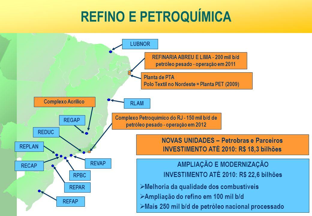 Ministério da Fazenda 37 NE AMPLIAÇÃO E MODERNIZAÇÃO INVESTIMENTO ATÉ 2010: R$ 22,6 bilhões Melhoria da qualidade dos combustíveis Ampliação do refino em 100 mil b/d Mais 250 mil b/d de petróleo nacional processado REFINO E PETROQUÍMICA RECAP RLAM LUBNOR Complexo Petroquímico do RJ - 150 mil b/d de petróleo pesado - operação em 2012 REDUC REPLAN REFAP REPAR REFINARIA ABREU E LIMA - 200 mil b/d petróleo pesado - operação em 2011 Planta de PTA Polo Textil no Nordeste = Planta PET (2009) REGAP RPBC REVAP NOVAS UNIDADES – Petrobras e Parceiros INVESTIMENTO ATÉ 2010: R$ 18,3 bilhões Complexo Acrílico