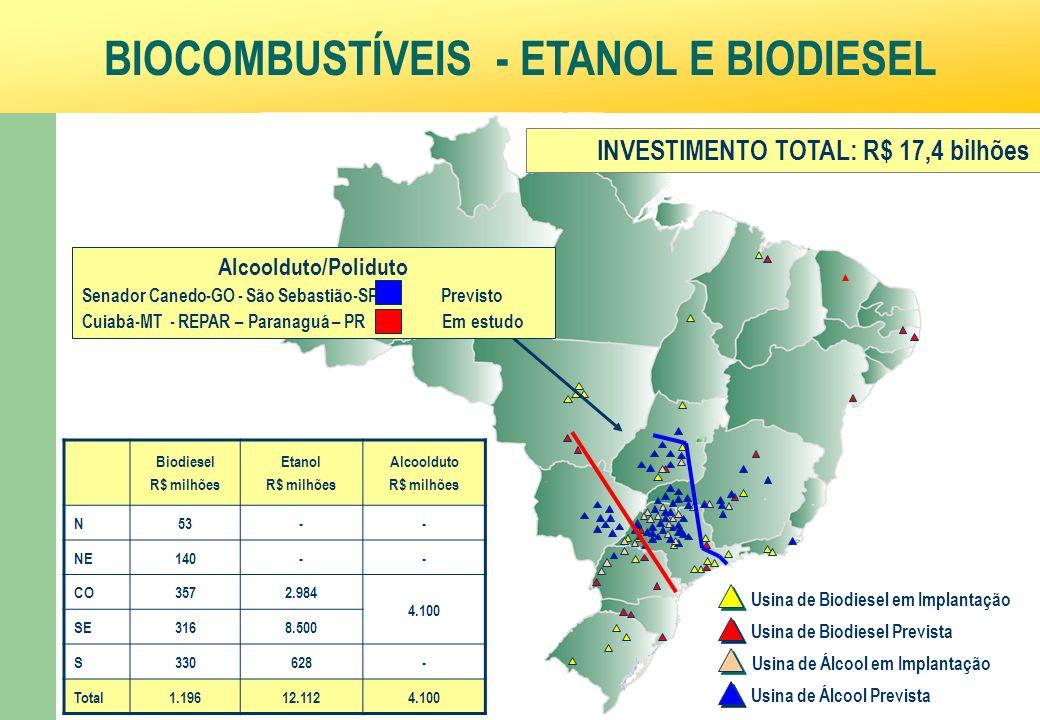 Ministério da Fazenda 39 BIOCOMBUSTÍVEIS - ETANOL E BIODIESEL Usina de Biodiesel Prevista Usina de Biodiesel em Implantação Usina de Álcool Prevista Usina de Álcool em Implantação Biodiesel R$ milhões Etanol R$ milhões Alcoolduto R$ milhões N53-- NE140-- CO3572.984 4.100 SE3168.500 S330628- Total1.19612.1124.100 INVESTIMENTO TOTAL: R$ 17,4 bilhões Alcoolduto/Poliduto Senador Canedo-GO - São Sebastião-SP Previsto Cuiabá-MT - REPAR – Paranaguá – PR Em estudo