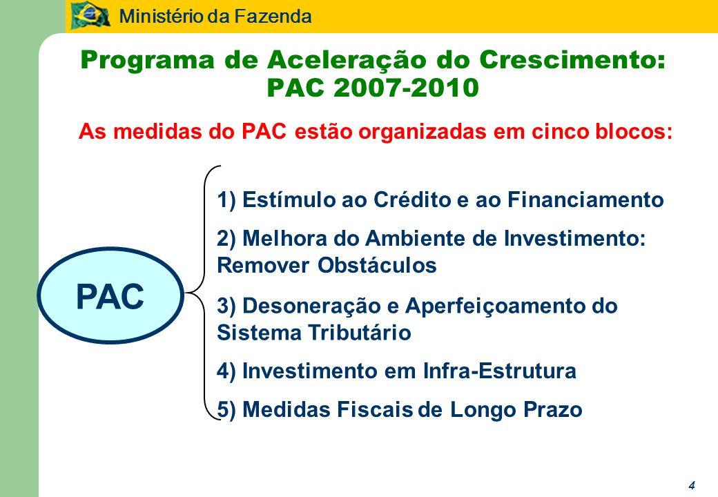 Ministério da Fazenda 4 As medidas do PAC estão organizadas em cinco blocos: PAC 1) Estímulo ao Crédito e ao Financiamento 3) Desoneração e Aperfeiçoamento do Sistema Tributário 5) Medidas Fiscais de Longo Prazo 4) Investimento em Infra-Estrutura 2) Melhora do Ambiente de Investimento: Remover Obstáculos Programa de Aceleração do Crescimento: PAC 2007-2010