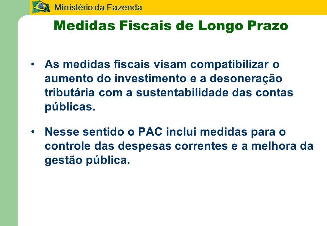 Ministério da Fazenda 43 Medidas Fiscais de Longo Prazo As medidas fiscais visam compatibilizar o aumento do investimento e a desoneração tributária com a sustentabilidade das contas públicas.