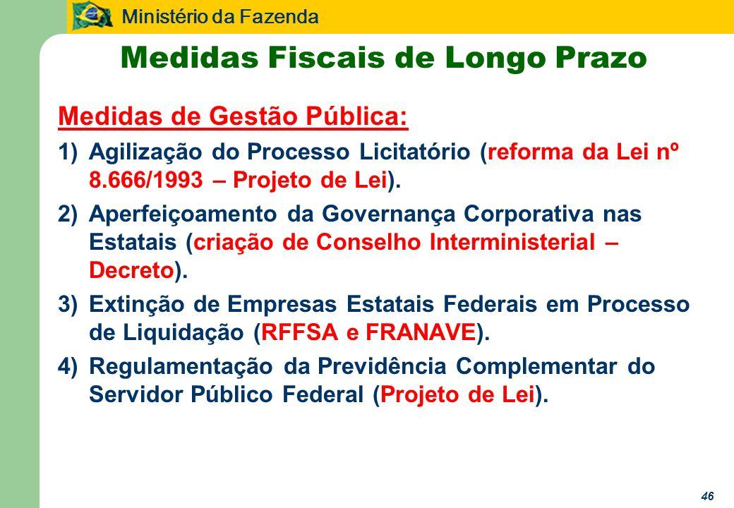 Ministério da Fazenda 46 Medidas Fiscais de Longo Prazo Medidas de Gestão Pública: 1)Agilização do Processo Licitatório (reforma da Lei nº 8.666/1993 – Projeto de Lei).