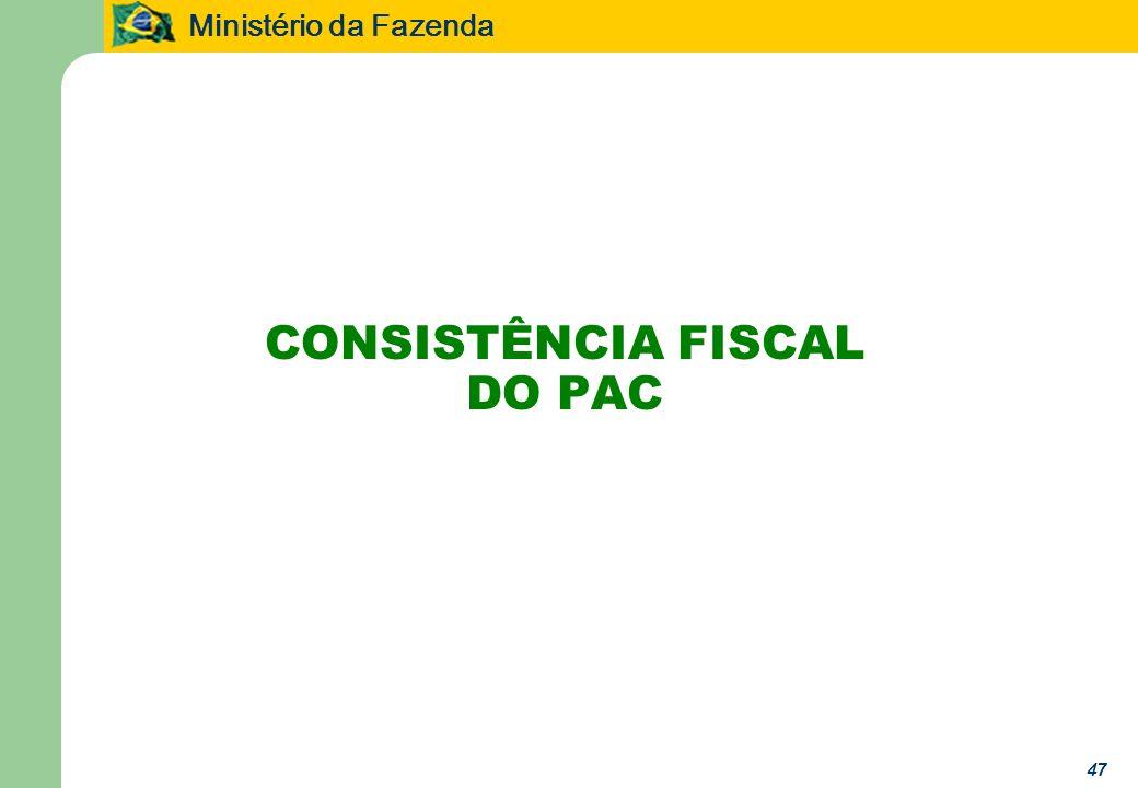 Ministério da Fazenda 47 CONSISTÊNCIA FISCAL DO PAC