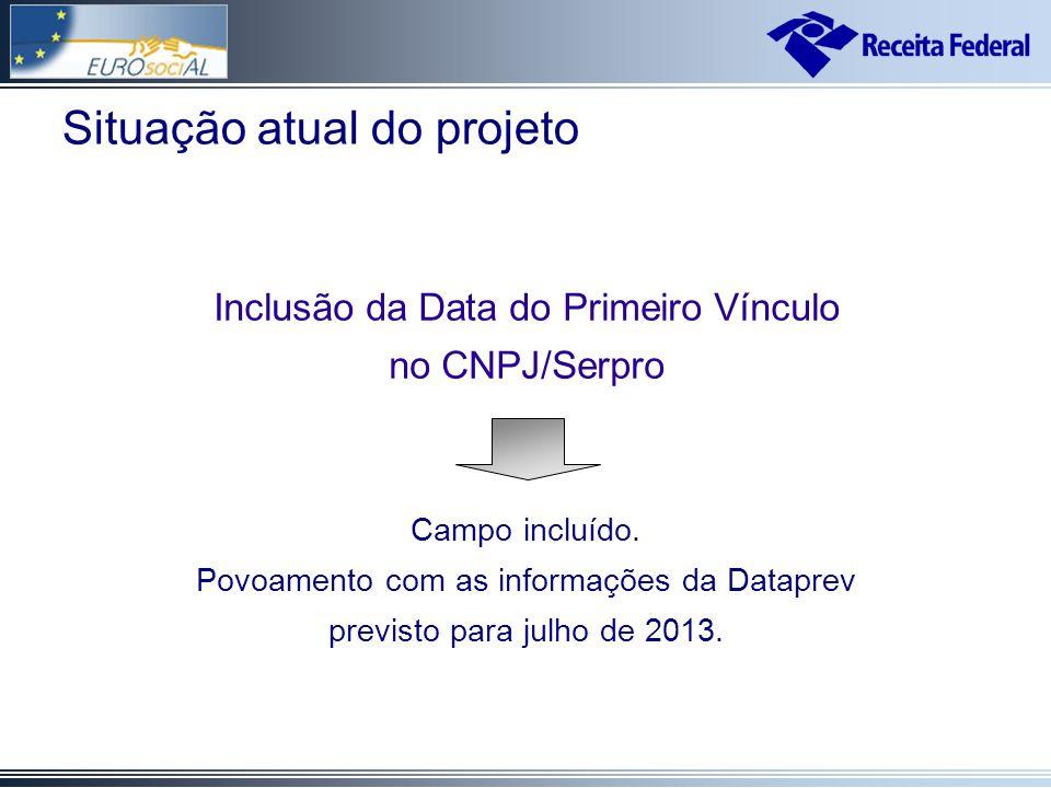 Situação atual do projeto Inclusão da Data do Primeiro Vínculo no CNPJ/Serpro Campo incluído.