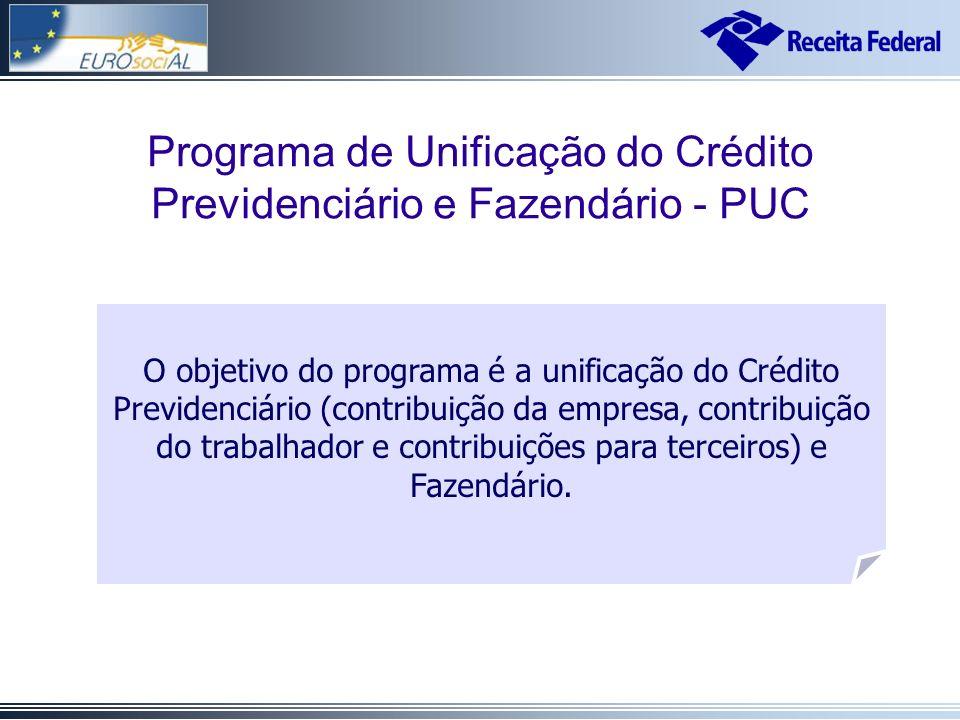 Cadastros de Informações Previdenciárias O objetivo do programa é a unificação do Crédito Previdenciário (contribuição da empresa, contribuição do trabalhador e contribuições para terceiros) e Fazendário.