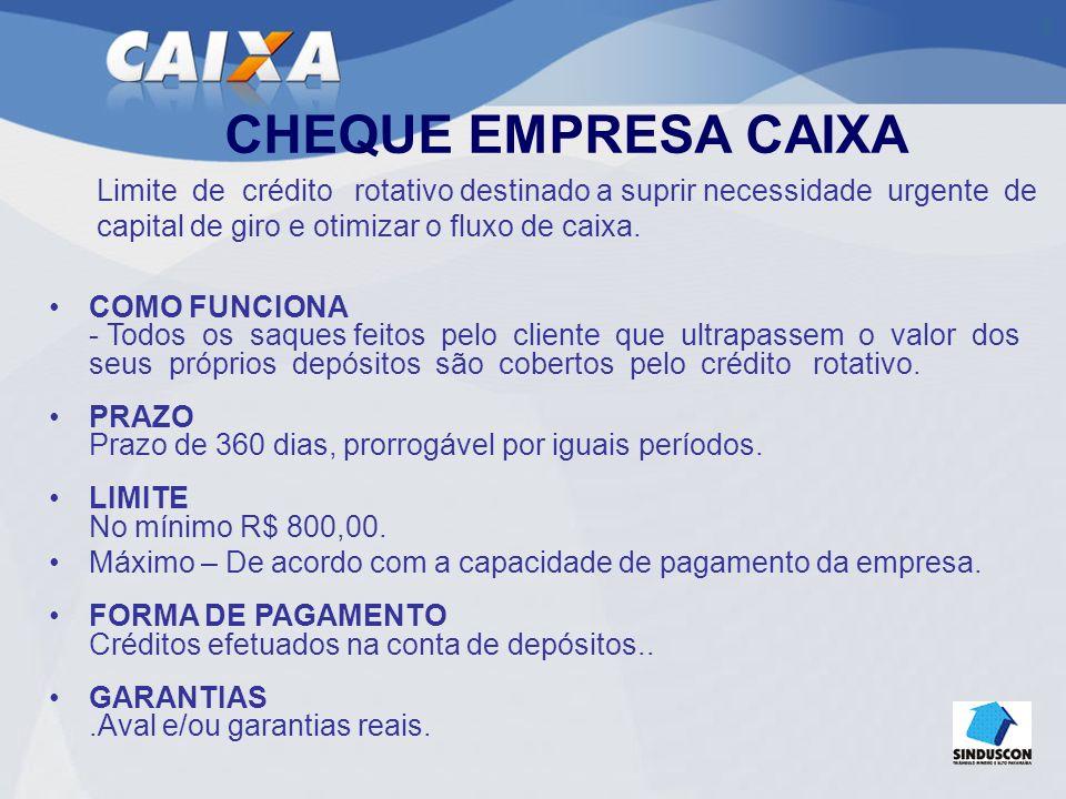 CONTA GARANTIDA CAIXA É um empréstimo sob a forma de limite de crédito rotativo vinculado a uma conta corrente separada da conta corrente de livre movimentação.