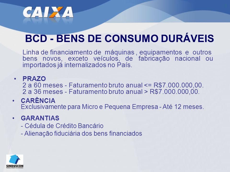 BCD - BENS DE CONSUMO DURÁVEIS Linha de financiamento de máquinas, equipamentos e outros bens novos, exceto veículos, de fabricação nacional ou importados já internalizados no País.