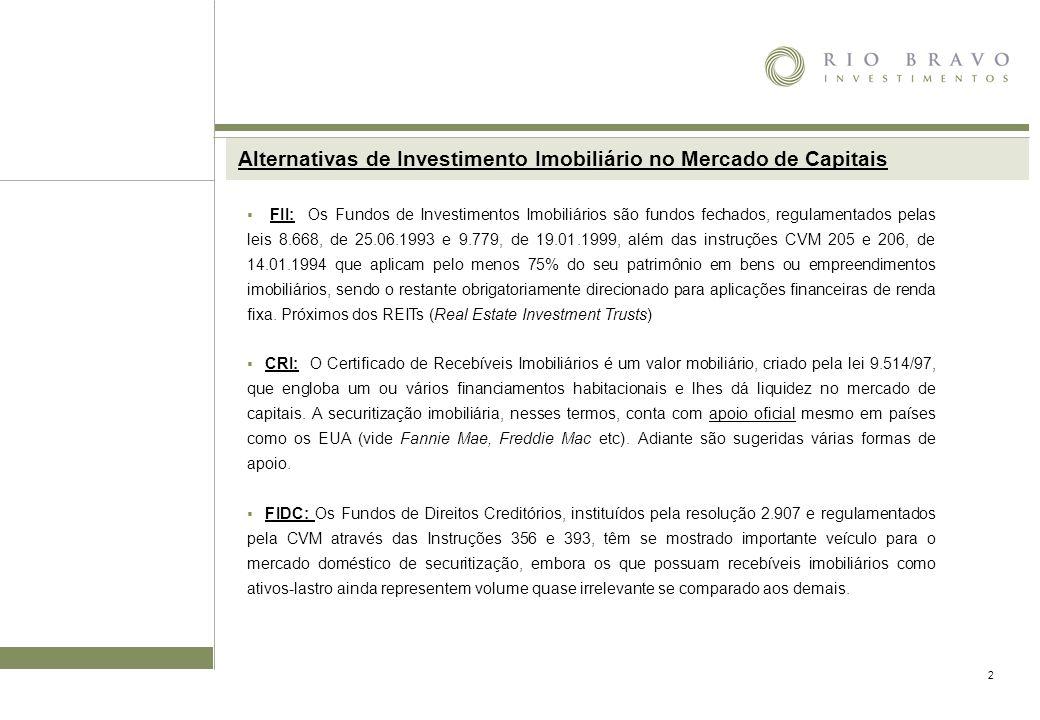 2 Alternativas de Investimento Imobiliário no Mercado de Capitais FII: Os Fundos de Investimentos Imobiliários são fundos fechados, regulamentados pelas leis 8.668, de 25.06.1993 e 9.779, de 19.01.1999, além das instruções CVM 205 e 206, de 14.01.1994 que aplicam pelo menos 75% do seu patrimônio em bens ou empreendimentos imobiliários, sendo o restante obrigatoriamente direcionado para aplicações financeiras de renda fixa.