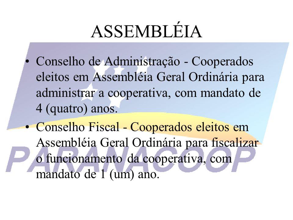 ASSEMBLÉIA Conselho de Administração - Cooperados eleitos em Assembléia Geral Ordinária para administrar a cooperativa, com mandato de 4 (quatro) anos