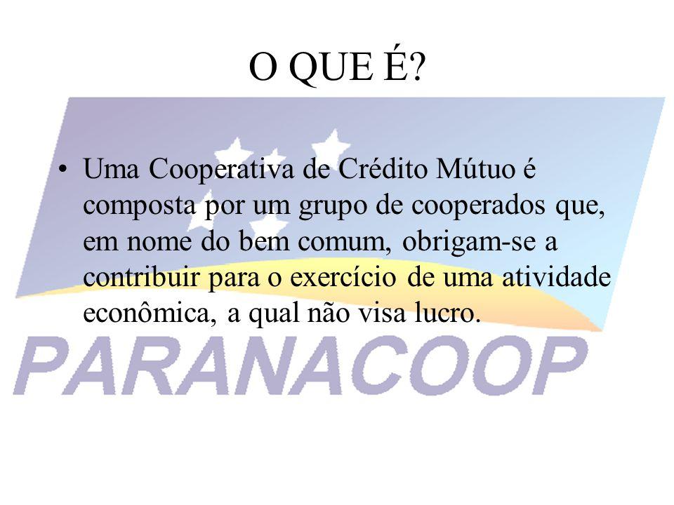 O QUE É? Uma Cooperativa de Crédito Mútuo é composta por um grupo de cooperados que, em nome do bem comum, obrigam-se a contribuir para o exercício de