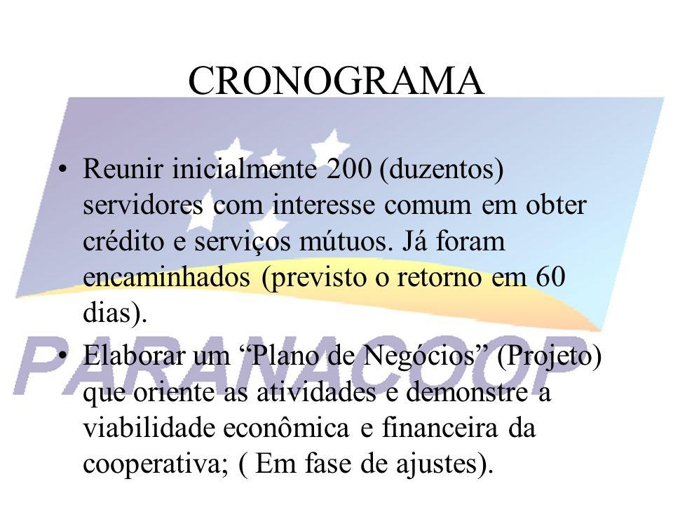 CRONOGRAMA Aprovação do Estatuto Social.Convocação de Assembléia Geral de Constituição (90 dias).