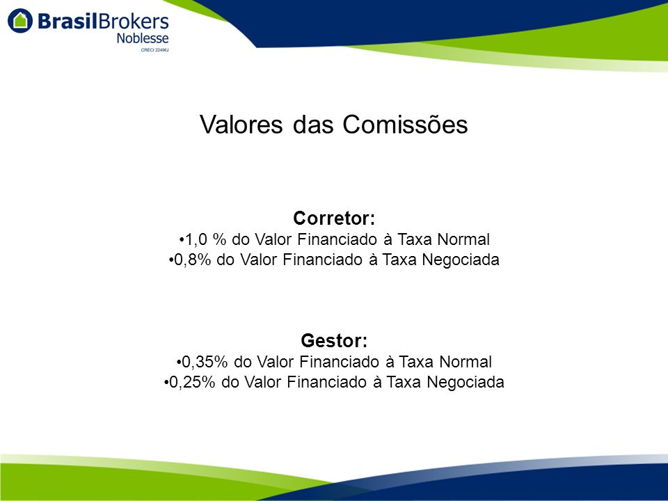 Valores das Comissões Corretor: 1,0 % do Valor Financiado à Taxa Normal 0,8% do Valor Financiado à Taxa Negociada Gestor: 0,35% do Valor Financiado à
