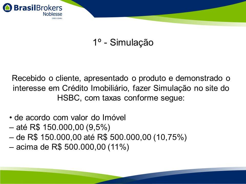 Recebido o cliente, apresentado o produto e demonstrado o interesse em Crédito Imobiliário, fazer Simulação no site do HSBC, com taxas conforme segue: de acordo com valor do Imóvel – até R$ 150.000,00 (9,5%) – de R$ 150.000,00 até R$ 500.000,00 (10,75%) – acima de R$ 500.000,00 (11%) 1º - Simulação