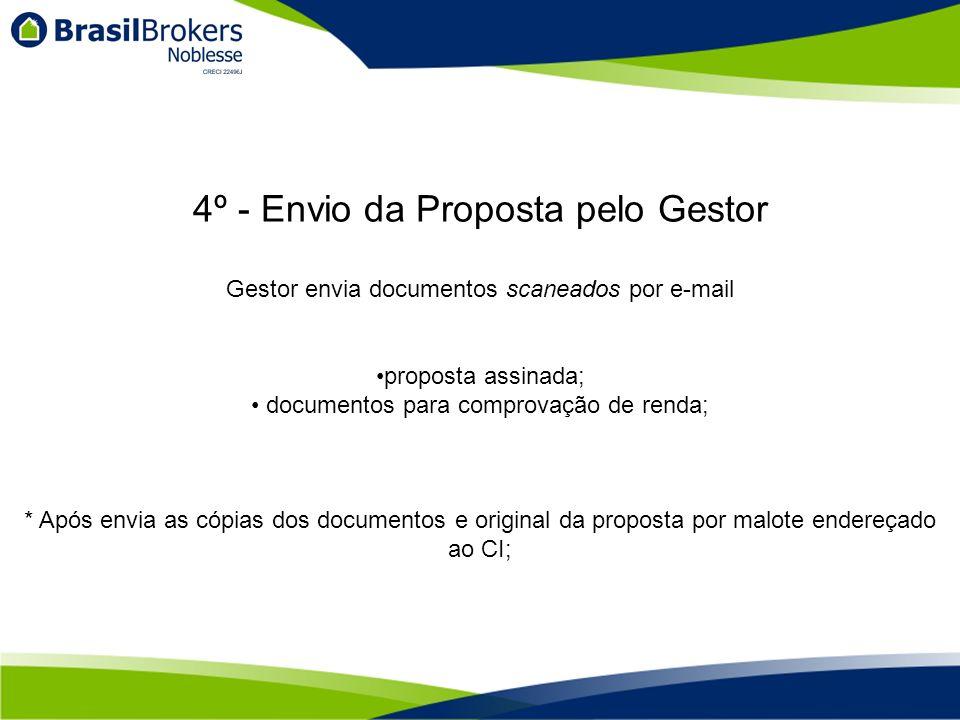O CI encaminha documentos para análise do HSBC, prazo para resposta da análise, 48 horas Aprovado o Crédito, será enviado via e-mail ao cliente e ao Gestor a Carta de Crédito Nela vai constar o detalhamento da operação, com taxas, prazo, valores e demais Esta carta de crédito é válida apenas para a operação da aquisição de Imóvel Intermediado pela Brasil Brokers - Noblesse, o cliente não poderá utilizar para aquisição de outro imóvel 5º - Análise Formal e Expedição de Carta de Crédito