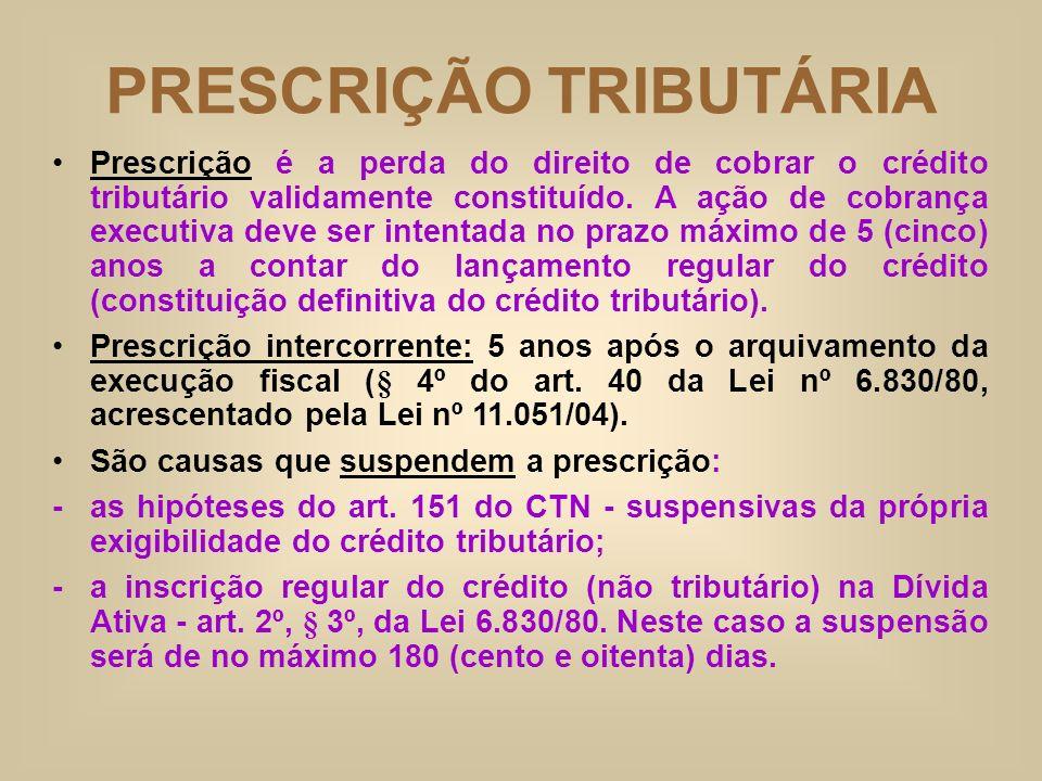 PRESCRIÇÃO TRIBUTÁRIA Prescrição é a perda do direito de cobrar o crédito tributário validamente constituído. A ação de cobrança executiva deve ser in