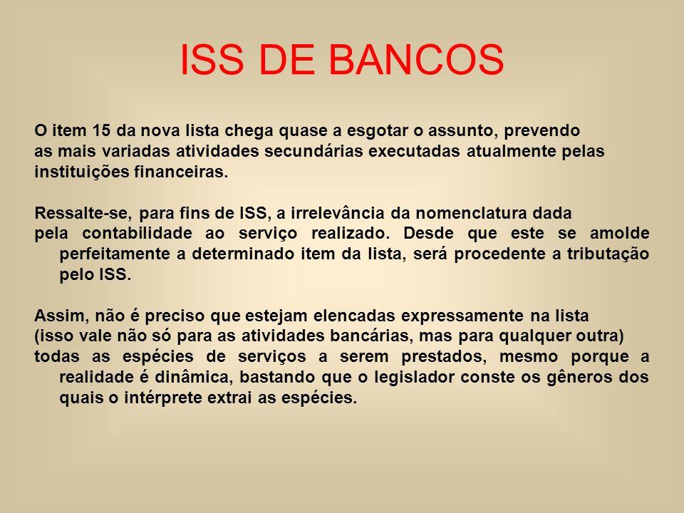 ISS DE BANCOS O item 15 da nova lista chega quase a esgotar o assunto, prevendo as mais variadas atividades secundárias executadas atualmente pelas in