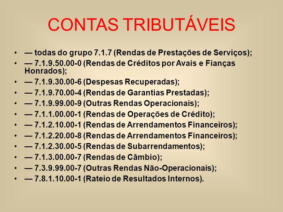 CONTAS TRIBUTÁVEIS todas do grupo 7.1.7 (Rendas de Prestações de Serviços); 7.1.9.50.00-0 (Rendas de Créditos por Avais e Fianças Honrados); 7.1.9.30.
