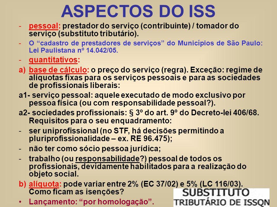 ASPECTOS DO ISS -pessoal: prestador do serviço (contribuinte) / tomador do serviço (substituto tributário). -O cadastro de prestadores de serviços do