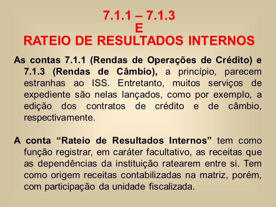 7.1.1 – 7.1.3 E RATEIO DE RESULTADOS INTERNOS As contas 7.1.1 (Rendas de Operações de Crédito) e 7.1.3 (Rendas de Câmbio), a princípio, parecem estran
