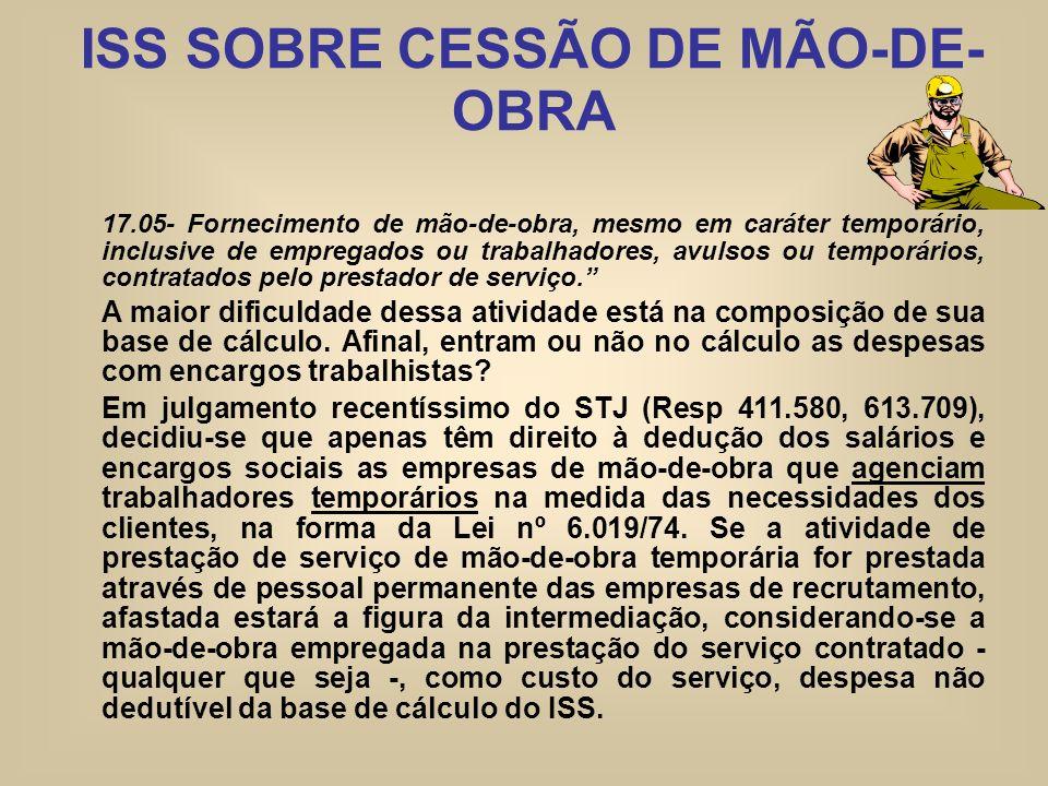 ISS SOBRE CESSÃO DE MÃO-DE- OBRA 17.05- Fornecimento de mão-de-obra, mesmo em caráter temporário, inclusive de empregados ou trabalhadores, avulsos ou