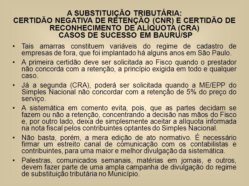 A SUBSTITUIÇÃO TRIBUTÁRIA: CERTIDÃO NEGATIVA DE RETENÇÃO (CNR) E CERTIDÃO DE RECONHECIMENTO DE ALÍQUOTA (CRA) CASOS DE SUCESSO EM BAURU/SP Tais amarra