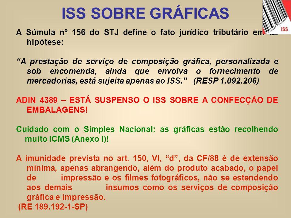 ISS SOBRE GRÁFICAS A Súmula nº 156 do STJ define o fato jurídico tributário em tal hipótese: A prestação de serviço de composição gráfica, personaliza