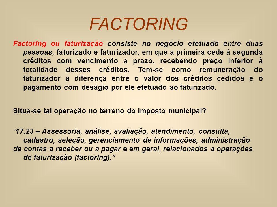 FACTORING Factoring ou faturização consiste no negócio efetuado entre duas pessoas, faturizado e faturizador, em que a primeira cede à segunda crédito