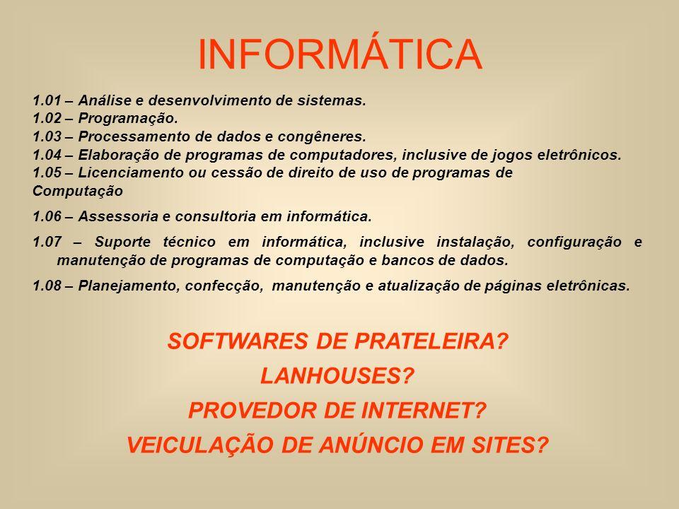 INFORMÁTICA 1.01 – Análise e desenvolvimento de sistemas. 1.02 – Programação. 1.03 – Processamento de dados e congêneres. 1.04 – Elaboração de program