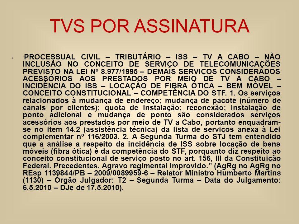 TVS POR ASSINATURA PROCESSUAL CIVIL – TRIBUTÁRIO – ISS – TV A CABO – NÃO INCLUSÃO NO CONCEITO DE SERVIÇO DE TELECOMUNICAÇÕES PREVISTO NA LEI Nº 8.977/