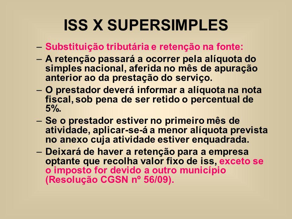 ISS X SUPERSIMPLES –Substituição tributária e retenção na fonte: –A retenção passará a ocorrer pela alíquota do simples nacional, aferida no mês de ap