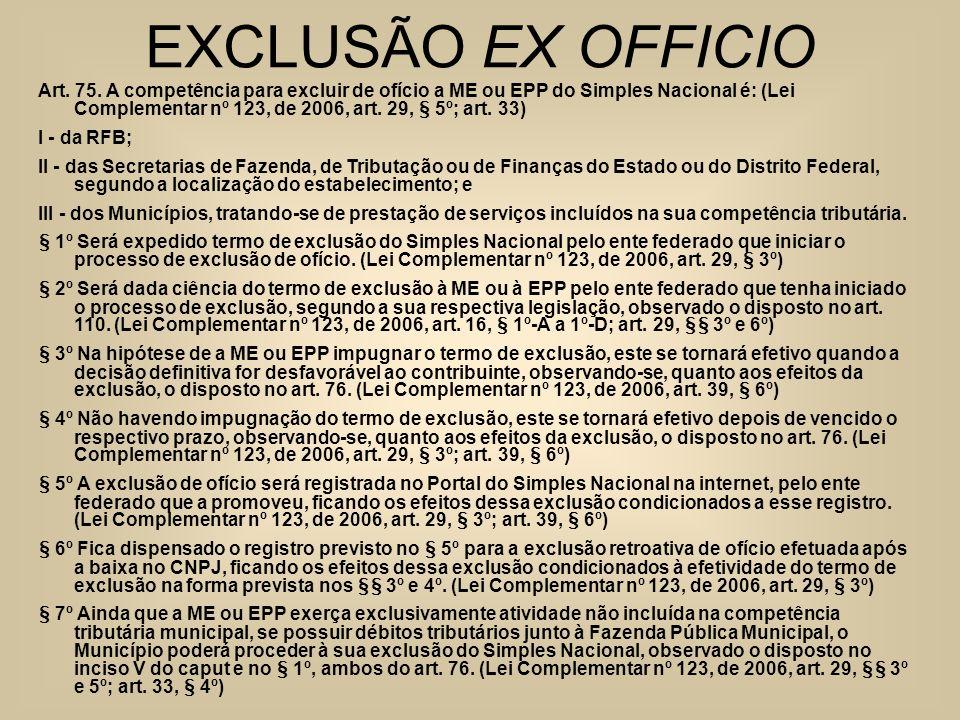 EXCLUSÃO EX OFFICIO Art. 75. A competência para excluir de ofício a ME ou EPP do Simples Nacional é: (Lei Complementar nº 123, de 2006, art. 29, § 5º;