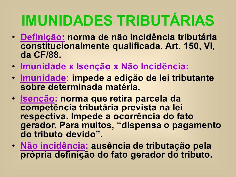 IMUNIDADES TRIBUTÁRIAS Definição: norma de não incidência tributária constitucionalmente qualificada. Art. 150, VI, da CF/88. Imunidade x Isenção x Nã