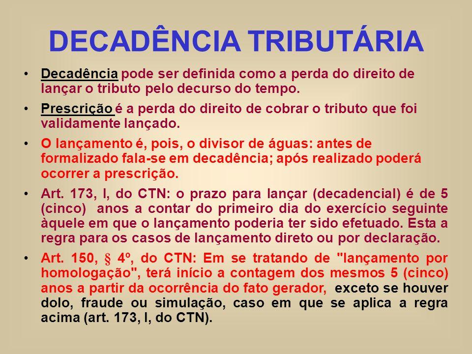 DECADÊNCIA TRIBUTÁRIA Decadência pode ser definida como a perda do direito de lançar o tributo pelo decurso do tempo. Prescrição é a perda do direito
