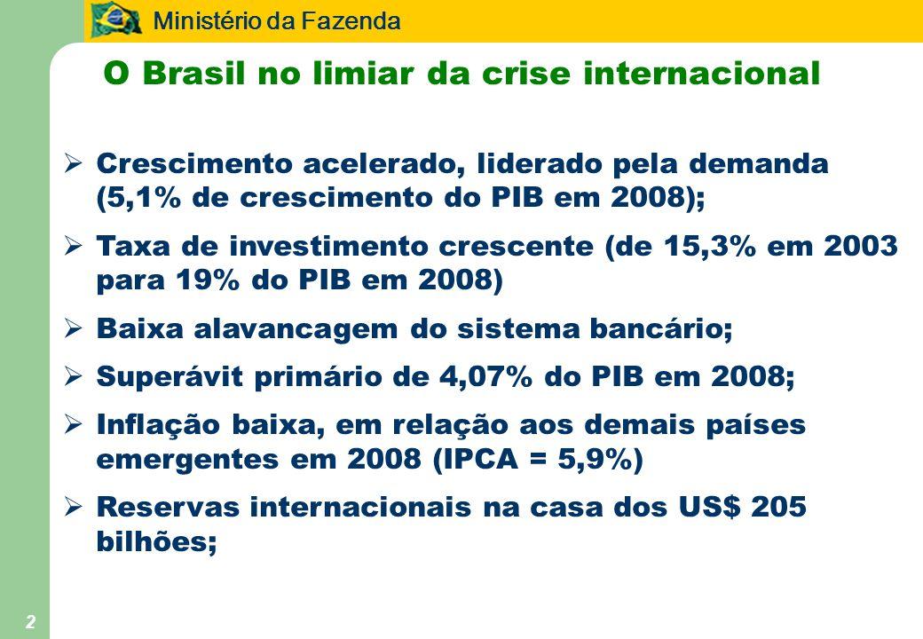Ministério da Fazenda 2 O Brasil no limiar da crise internacional Crescimento acelerado, liderado pela demanda (5,1% de crescimento do PIB em 2008); T